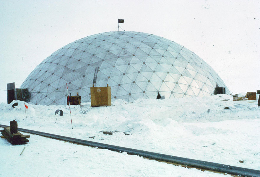 Construction of the geodesic dome.