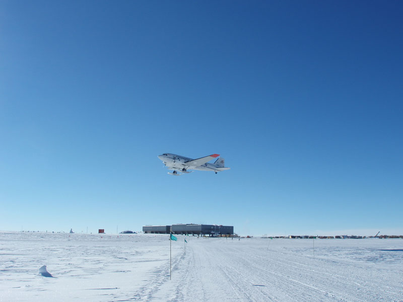 A DC-3T Basler airplane takes off from Amundsen-Scott South Pole Station.
