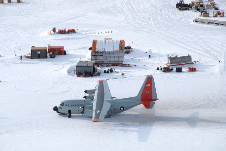 An LC-130 airplane refuels at Amundsen-Scott South Pole Station.