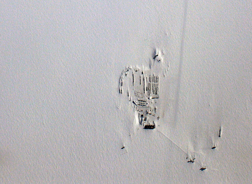This aerial photo of Amundsen-Scott South Pole Station was taken by NASA crew members flying in a DC-8 at 35,000 feet.