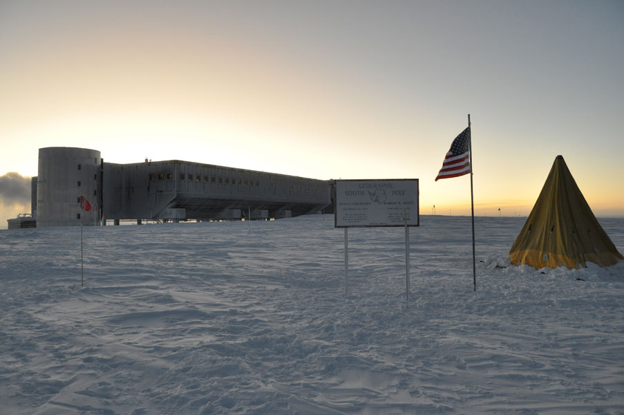 This photo shows how much light is visible at the South Pole the week before the sun rises.
