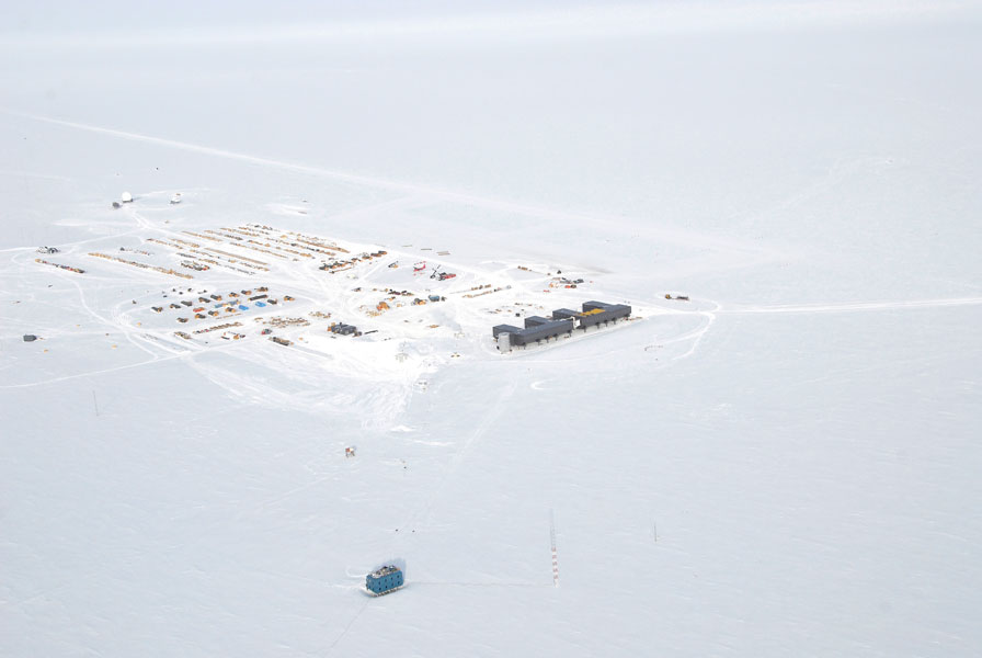 An aerial view of Amundsen-Scott South Pole Station.