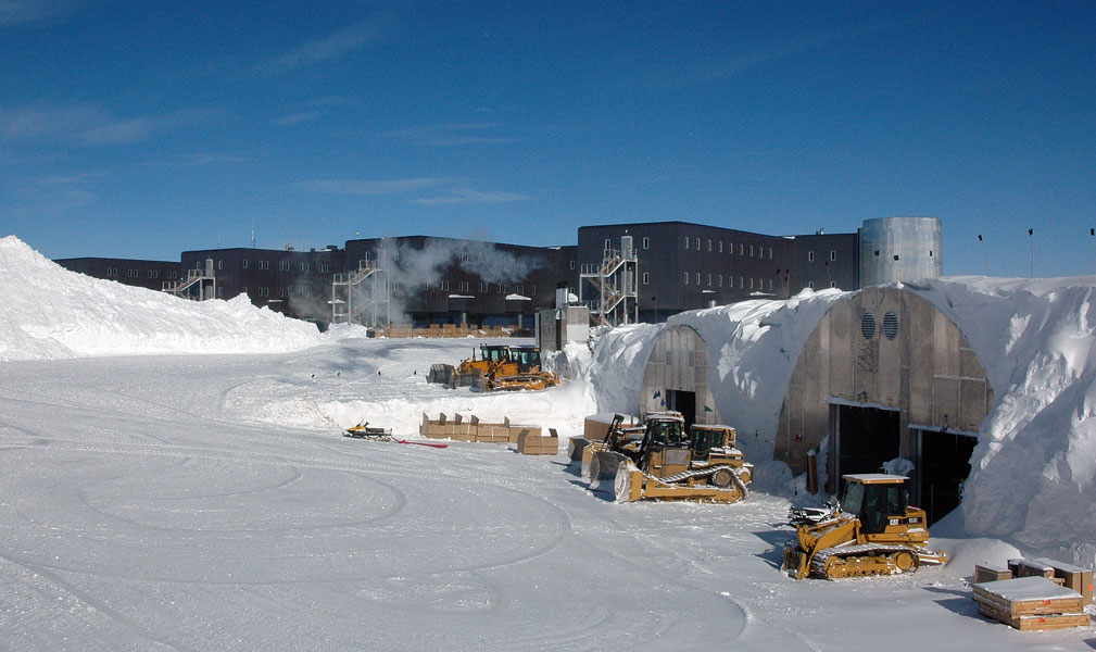 The heavy equipment garage is located under the snow.