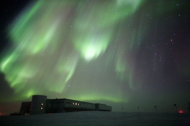 Aurora over the South Pole Station